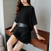 Loose Top Slim Dress With Belt Skirt - Black