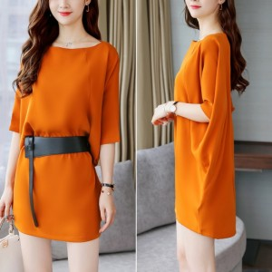 Loose Top Slim Dress With Belt Skirt - Orange