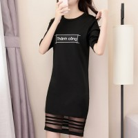Alphabetic Print Loose Short Sleeve Skirt - Black