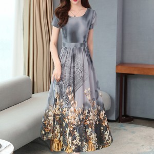 Round Neck New Fashion Printed Design Long Floral Dress - Gray