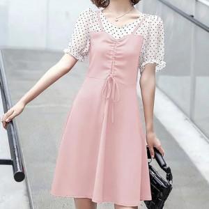 Short Sleeves Polka Dotted Chiffon Mini Dresses - Pink
