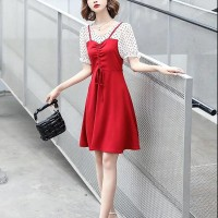 Short Sleeves Polka Dotted Chiffon Mini Dresses - Red