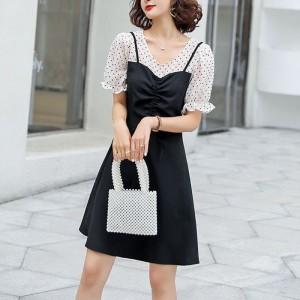 Short Sleeves Polka Dotted Chiffon Mini Dresses - Black