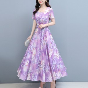 Bohemian Dress With Flowered Printed - Purple