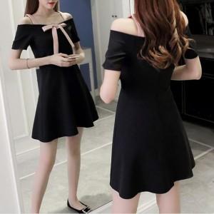 One Line Shoulder Strap Sweet Slim Skirt - Black