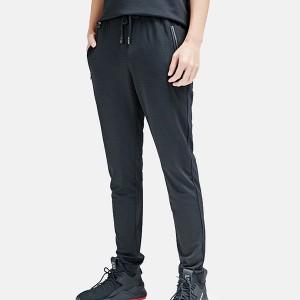 Elastic String Closure Waist Sports Wear Casual Trouser - Black