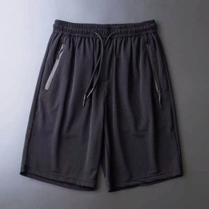 Elastic Waist String Closure Sports Wear Men Shorts - Black