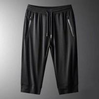 Elastic Waist String Closure Sports Wear Men Short Trousers - Black