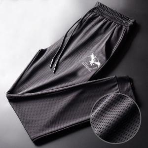 Printed Mesh Breathable Gym Wear Sports Cool Men Trouser - Gray
