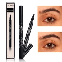 Four Headed Extremely Long Lasting Waterproof Eyebrow Pencil 04 - Black