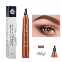 Four Headed Fork Tip Long Lasting Waterproof Eyebrow Pencil 03 - Red Brown