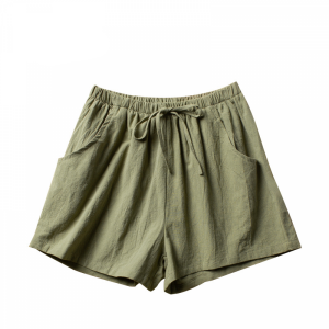 Elastic Waist Solid Color Casual Wear Shorts - Green