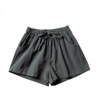 Elastic Waist Solid Color Casual Wear Shorts - Gray