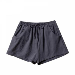Elastic Waist Solid Color Casual Wear Shorts - Dark Gray