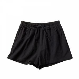 Elastic Waist Solid Color Casual Wear Shorts - Black