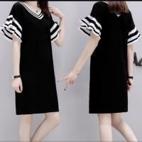 Mid Length Petal Sleeves V-Neck Skirt - Black