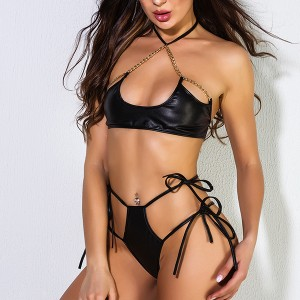 Chain Halter Neck Sexy Wear Knotted Two Pieces Lingerie Sets - Black
