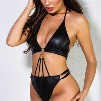 Knotted Halter Neck Backless Sexy Wear Two Pieces Lingerie Sets - Black