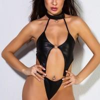 Backless Full Sexy Wear Halter Neck Lingerie Sets - Black