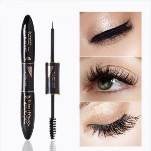 2 In 1 Long Lasting Waterproof Silk Fiber Eyelash Mascara - Black
