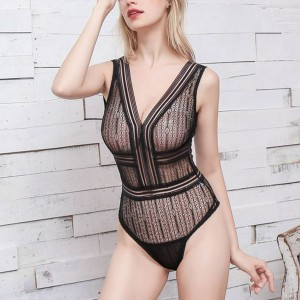 Sleeveless See Through Body Fitted Sexy Wear Bodysuit - Black