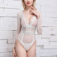 Sleeveless See Through Body Fitted Sexy Wear Bodysuit - White