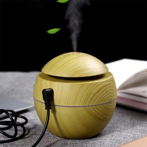 Essential Oil Diffuser Wood Grain Humidifier For Home Office - Khaki