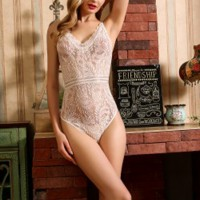 Padded Sexy Wear Hollow Strapped Bodysuit - White
