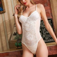 Floral Strapped Neck Hollow Lace Sexy Wear Bodysuit - White
