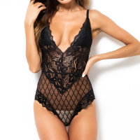 See Through Slim Fit Sexy Wear Bodysuit - Black