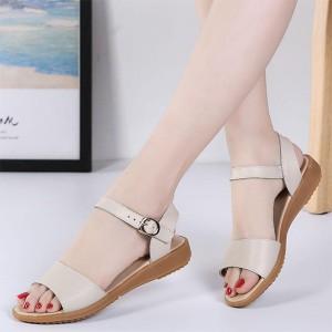 Soft Sole Closure Buckle Flat Sandal For Women - Apricot