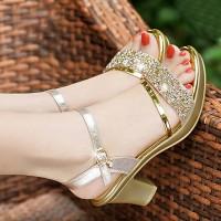 Decorative With Rhinestones Glitter Luxury Heel Party Wear Sandal - Golden