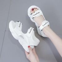 Velcro Closure Thick Sole Summer Wear Women Sandal - White