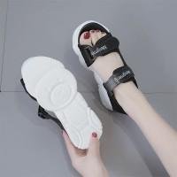 Velcro Closure Thick Sole Summer Wear Women Sandal - Black