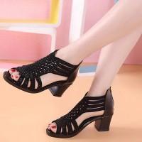 Hollow Fashion Closure Zipper Party Wear Women Square Heel - Black