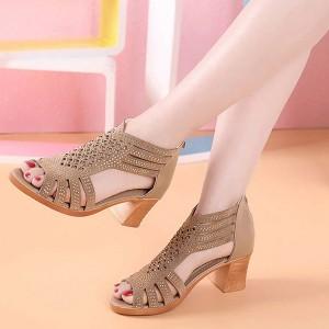 Hollow Fashion Closure Zipper Party Wear Women Square Heel - Golden