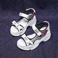Trendy Velcro Closure Thick Sole Casual Wear Sandal - Black