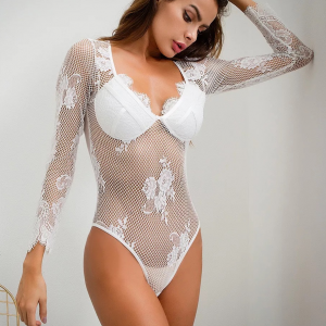 Floral Lace See Through Body Fitted Slim Fit Bodysuit - White