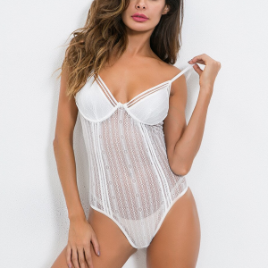 Stripes Body Fitted Slim Fit Sexy Wear Bodysuit - White