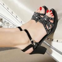 Decorative Strappy Fashion Closure Buckle Square Heel Party Wear Sandal - Black