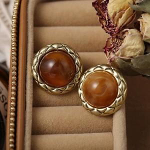 Fancy Elegant Color Round Stone Stud Earrings For Women - Apple Red