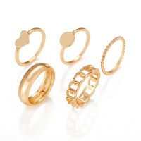 Fancy Gold Plated Party Wear 5 Pieces Women Rings Set - Golden