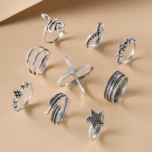 Elegant Flowers Starfish Snake Joint Rings 9 Pieces Set - Silver