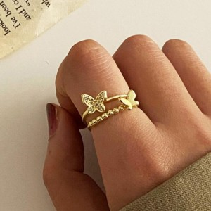 Trendy Gold Plated Butterfly Decorative With Crystal Joint Ring