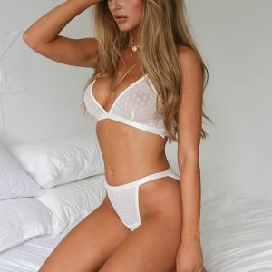 Deep V Sexy Wear Transparent Lingerie Set - White