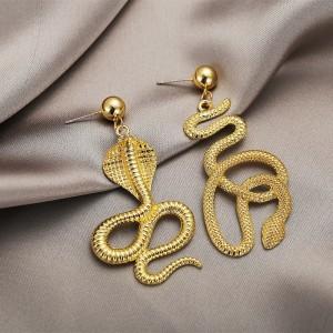 Trendy Snake Braid Gold Plated Dangle Earring For Women