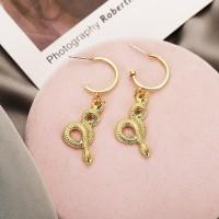 Creative Snake Design Gold Plated Women Earrings - Golden