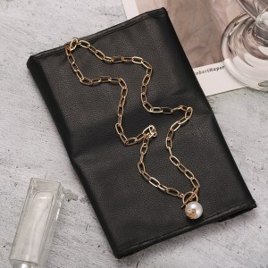 Stylish Dangle Pearl Fashion Chain Women Necklace - Golden
