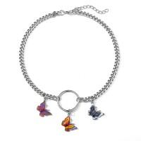 Dangle Butterfly Choker Pendant Women Necklace - Multi Color