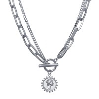 Double Layered Thick Chain Clavicle Necklace For Women - Silver
